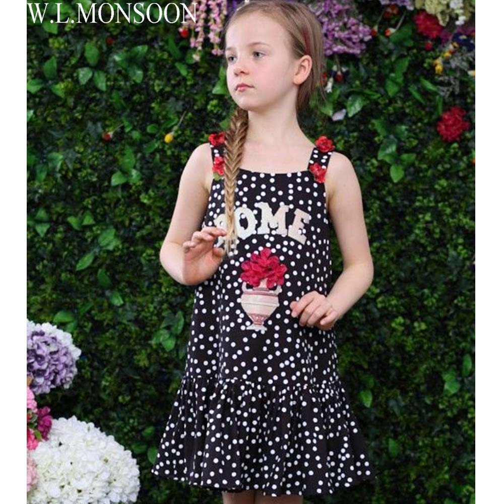 W.L.MONSOON Baby Girls Summer Dress Brand Children Costumes Princess Dress Vestidos Flower Dot Kids Dresses for Girls Clothing flower girl dresses summer vestidos children wedding dress 2018 brand princess costumes for kids clothes baby girls party dress