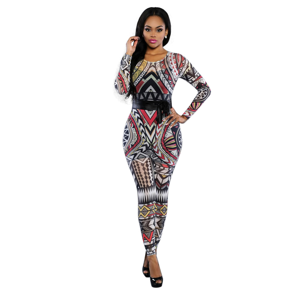 Tribal-Tattoos Bodycon-Jumpsuit-2016-Long-Sleeve-font-b-Tribal-b-font-font-b-Tattoo-b-font-Print