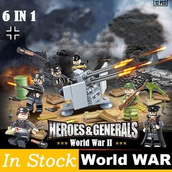 цены 6pcs German Army SWAT World War 2 Soldier Military Weapon Gun Building Block Figures Bricks Toys children Gifts Legoing Technic