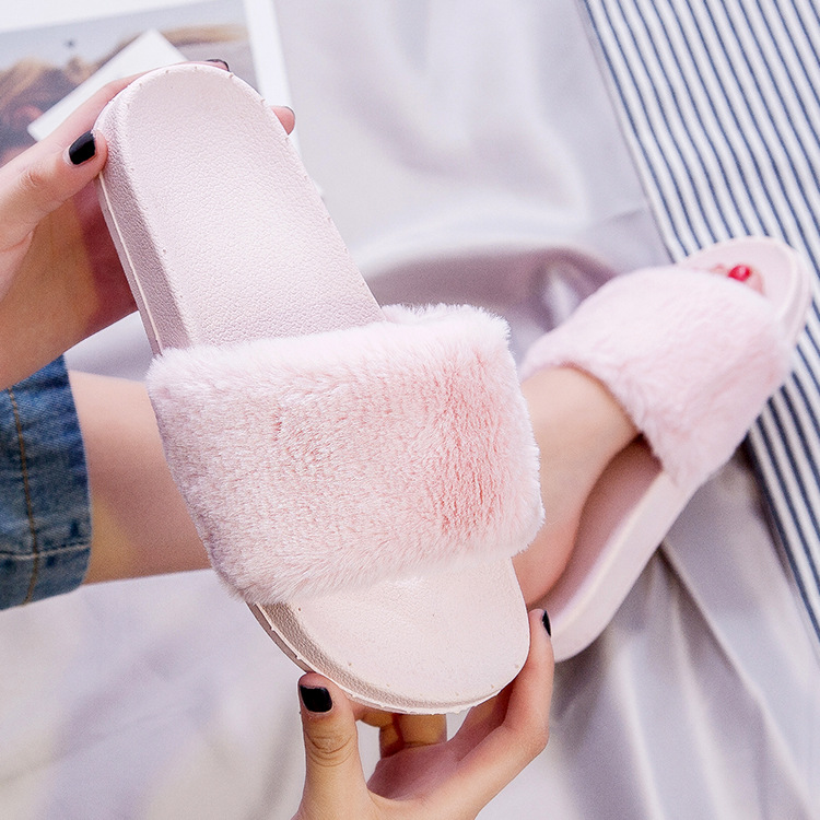 Shoes Flats Slides Slip Home-Slippers Faux-Fur Casual Summer Women Cute Ladies Style