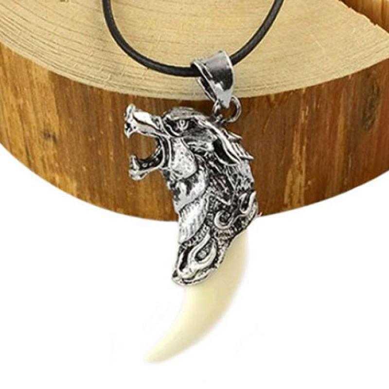 MJARTORIA naszyjnik męska wilk ząb stalowy wisiorek naszyjniki dla mężczyzn obojczyk liny mężczyzna naszyjnik Choker dominujące biżuteria