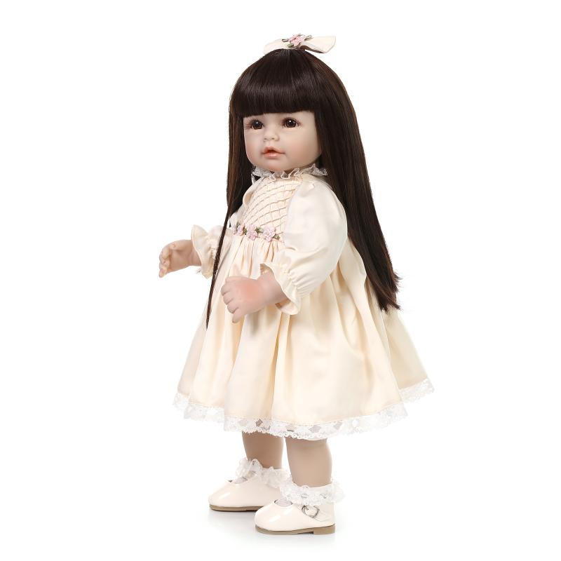 50cm long hair girl doll toy can stand silicone reborn baby dolls for girls 20inch lifelike vinyl newborn babies children gifts handmade 18 inch girl doll plastic toy dolls for girls toy gifts 45cm princess dolls bjd doll with red dress and shoes