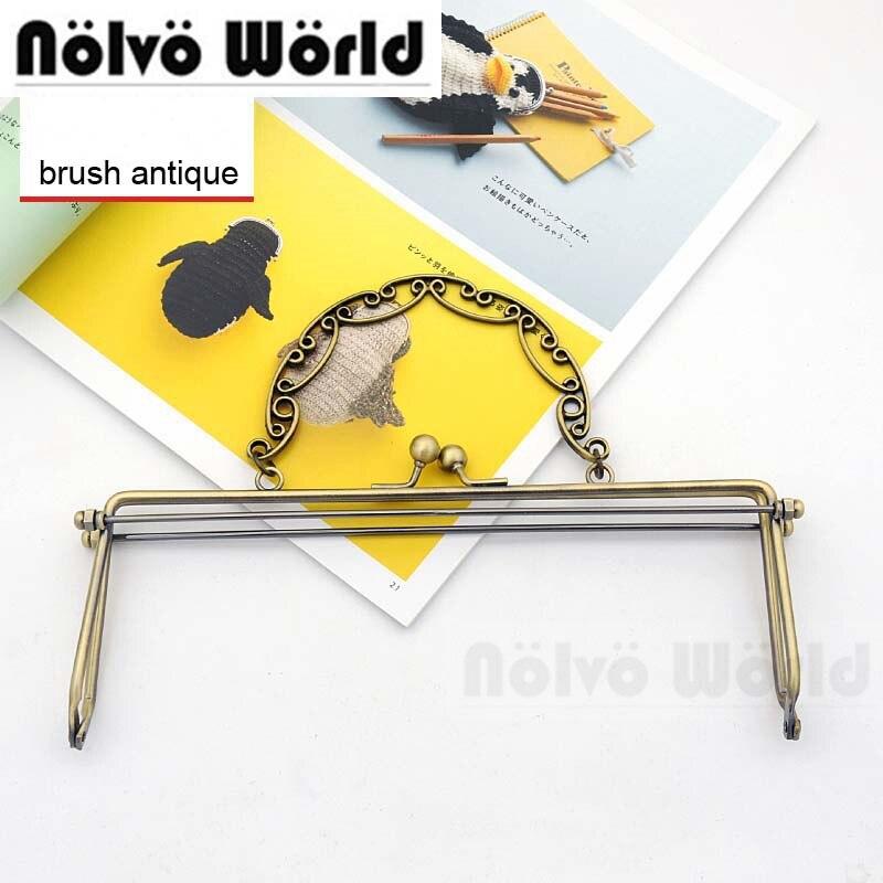 5pcs 23X8.5cm TOP Quality Brush Antique Metal Purse Frame Bag Handle,Women Handbag Kiss Lock Frames