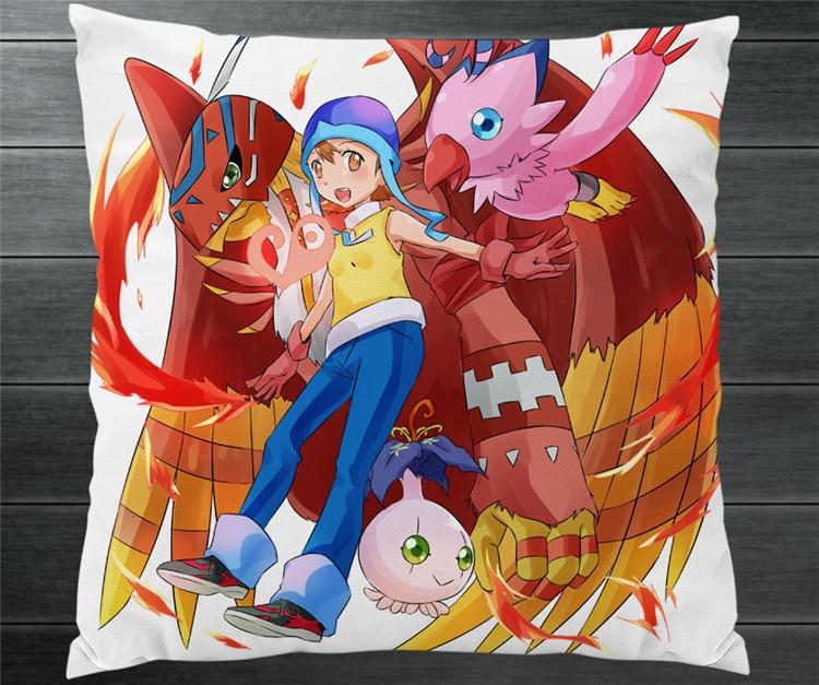 Digimon Adventure Takenouchi Sora Piyomon Two Side 40x40cm Pillowcase Pillow Case Cover Cosplay Manga Gift BED/SOFA/CAR Decor P7