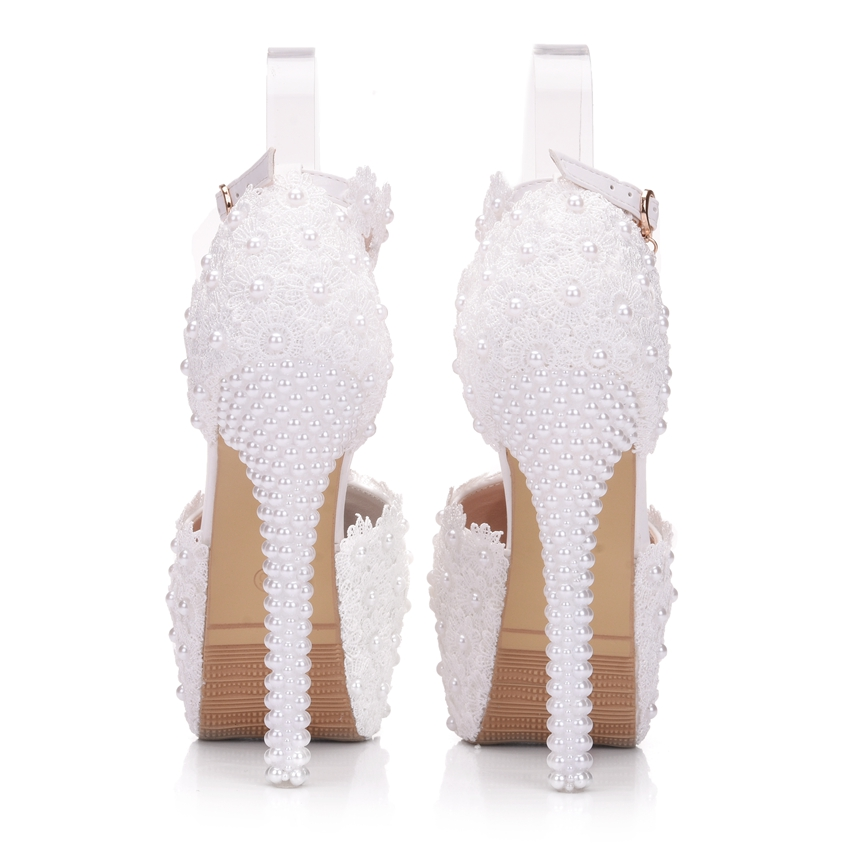 Crystal Queen white lace wedding shoes pumps pearls heels women high heels  wedding party shoes white princess pumps women-in Women s Pumps from Shoes  on ... 143ab62969ce