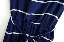 Blue drape white stripe pleated maxi long dress above ankle Boho Bohemia tropical beach Floor-length chiffon dress
