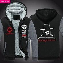 BOOCRE Winter V For Vendetta Mask Rangers Men Hooded Sweatshirts Thicken Zipper Hoodies Outerwear Jackets USA EU Size Plus Size