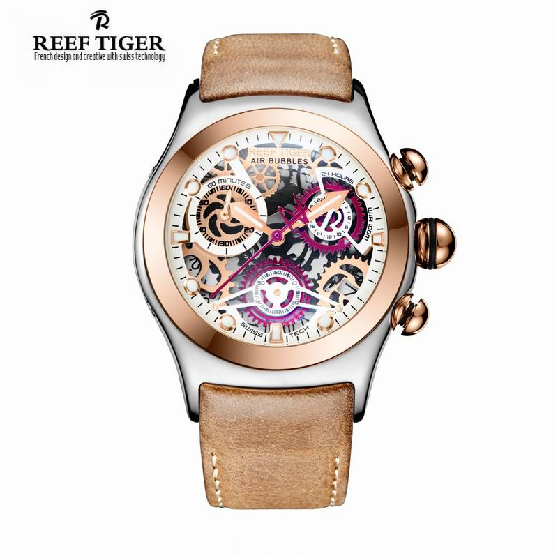 Reef Tiger/RT Mens Chronograph Watch Luminous Watch with Date Rose Gold Steel Watches RGA792 вцспс зеленый город путевку
