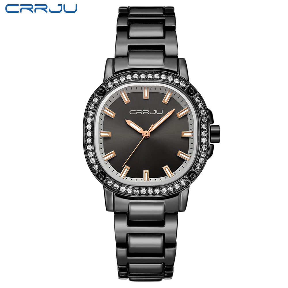 Image 2 - CRRJU Newest Japan Brand Women Watches Modern Retro Waterproof Ladies Watches Crystal Rose Gold Stainless Steel Montre Femme-in Women's Watches from Watches