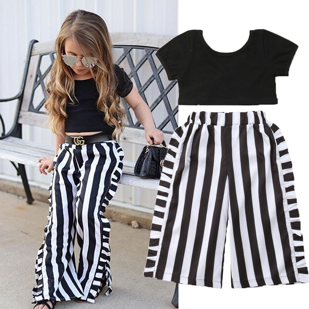 Toddler Kids Baby Girls Crop Tops Wide Leg Pants 2PCS Summer Outfit Clothes 1-6Y