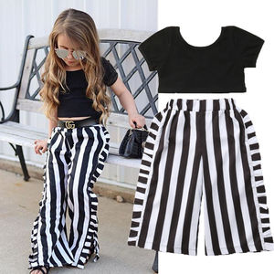 1-6Y Toddler Baby Girls Summer Fashion Clothes Sets 2PCS Short Sleeve Black T-Shirts Tops Striped Wide Leg Pants Sets(China)