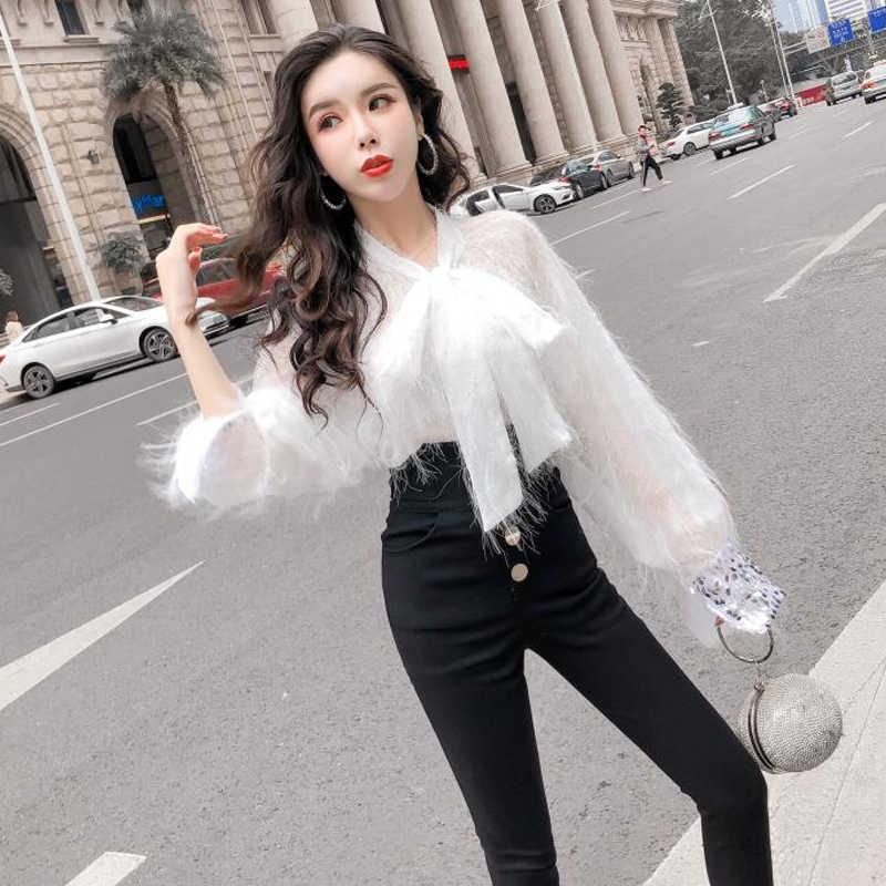 04b8481869e44 ... Goddess Style Spring top 2019 New Westernized Fashion Blouse,sexy woman  top white blouse ...