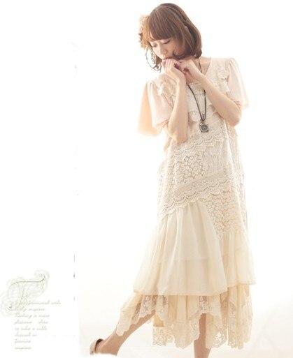 Sweet Mori Girl Summer loose Dress tunique vestido de festa roupas lolita mori  girl hippie boho Women lace crochet casual dress-in Dresses from Women s ... 2698a0197e1c
