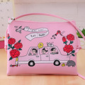 Harajuku Style Mujeres de Los Bolsos de Hombro y Bolsos Crossbody de Cuero de LA PU Bolsos Chicas Bolsas de Mensajero Fresca Rosa/Blanco SJ0196