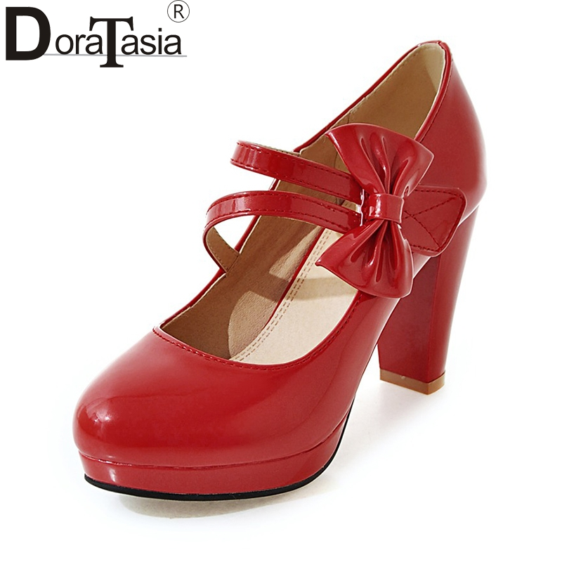 DoraTasia Plus Size 33-43 Sexy High Heel Shoes Pumps Woman Black White Bowtie Pointed Toe Platform Pumps Wedding Shoes Women baoyafang white red tassels women wedding shoes bride 12cm 14cm high heels platform shoes woman high pumps female shoes