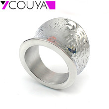COUYA 2017 New fashion 316L Irregular Shape stainless steel big plain hammer shiny rings for women jewelry silver gift ring