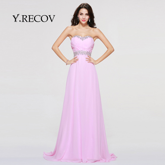 Latest Fashion Gowns YD2351 A line Sweetheart Beading Chiffon Pink ...