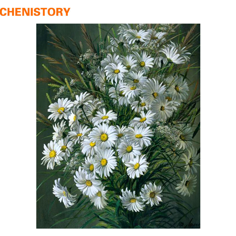 CHENISTORY Daisy Flowers Diy Painting By Numbers Abstract Mo