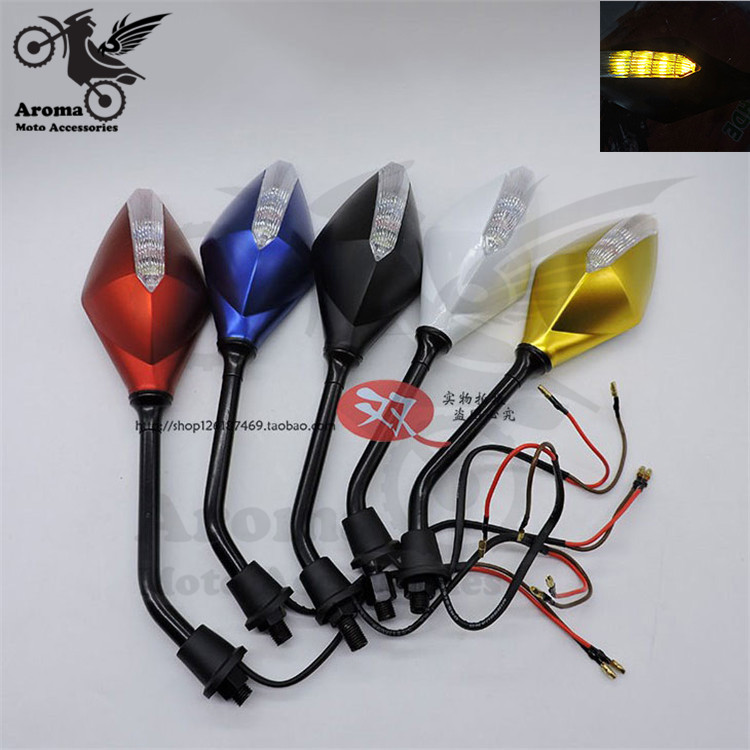 scooter motorbike frecce moto mirrors for Vespa gts piaggio yamaha xmax nmax motorcycle accessories LED light rearview mirror
