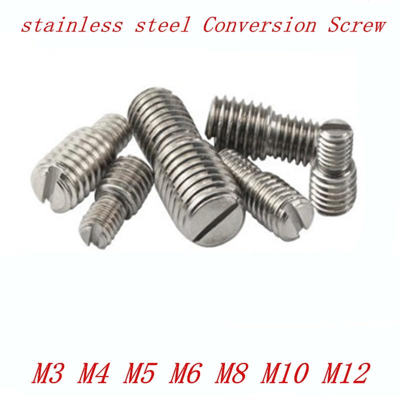4 шт./лот, винт для камеры M3 M4 M5 M6 M8 M10 M12 D1 X L1 к D2 X L2 из нержавеющей стали с двойными прорезями