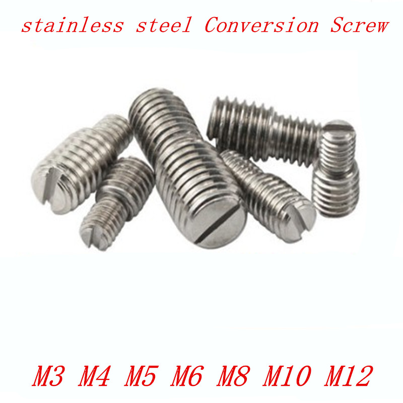 4pcs/lot M3 M4 M5 M6 M8 <font><b>M10</b></font> M12 D1 X L1 to D2 X L2 stainless steel double slotted conversion camera <font><b>screw</b></font> image