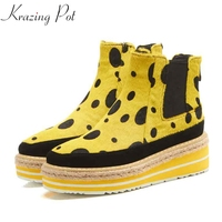 Krazing Pot 2018 new horsehair wedges med heels platform women round toe leopard print quality fashion keep warm ankle boots L11