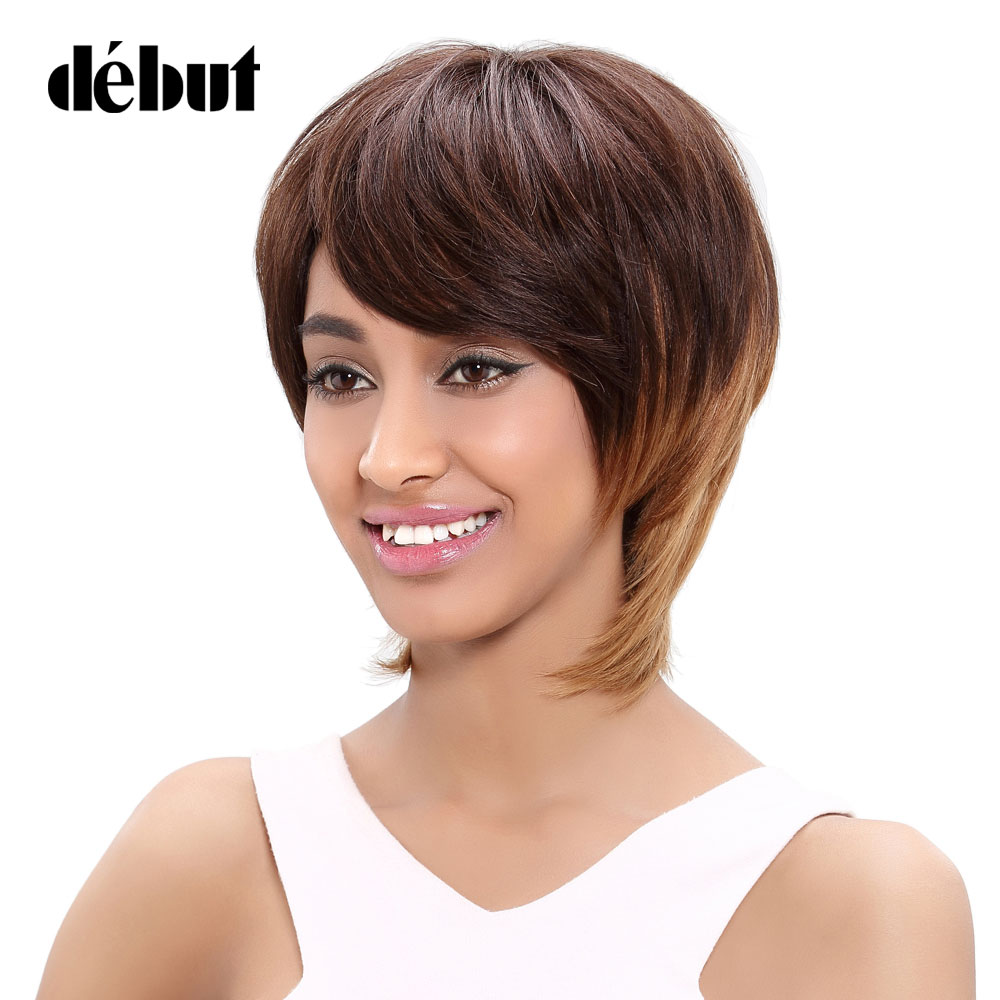 Debut Brazilian Straight Hair Short Human Hair Brown Blonde Wigs For Women Brown Ombre Hair Party Wigs Free Shipping