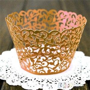 Image 4 - Molde de papel calado para cupcakes, 12 Uds., oferta, corte láser, encaje de vid pequeña, forro de envoltura, copa para hornear, molde de papel calado para pastel, DIY, Fondant, Cupcake