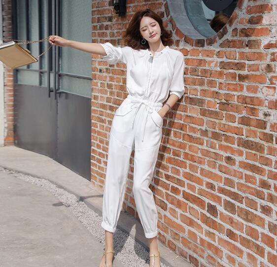 Streetwear ceintures barboteuses femmes à manches longues Combinaison Femme automne blanc noir dames décontracté poches Cargo salopette