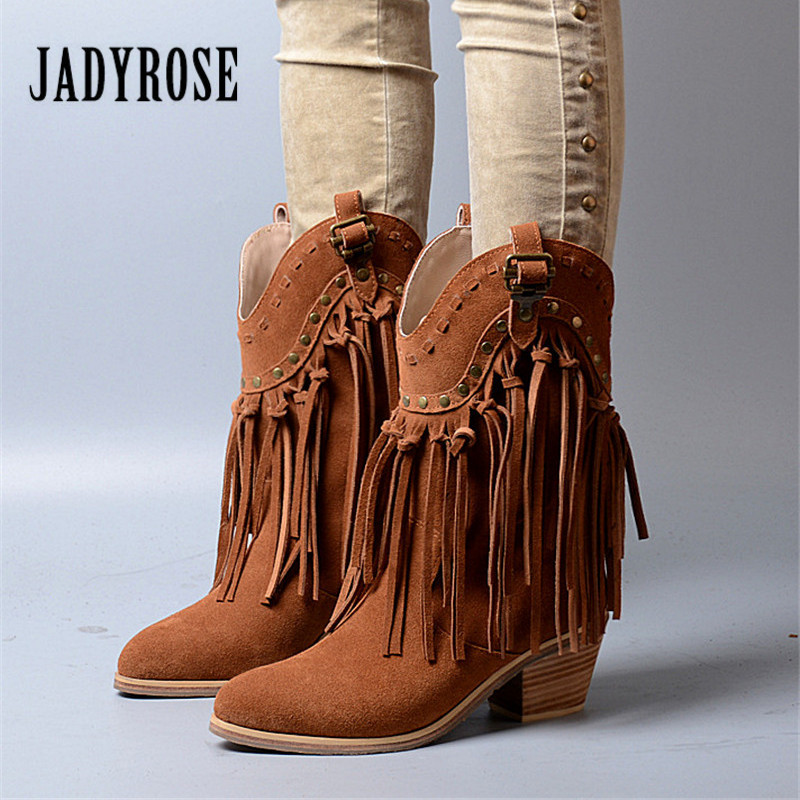 Jady Rose Brown Fringed Women Chunky High Heel Boots Suede Slip On Women Rivets Studded Rubber Boot Platform Autumn Winter Botas jady rose brown fringed women chunky high heel boots suede slip on women rivets studded rubber boot platform autumn winter botas