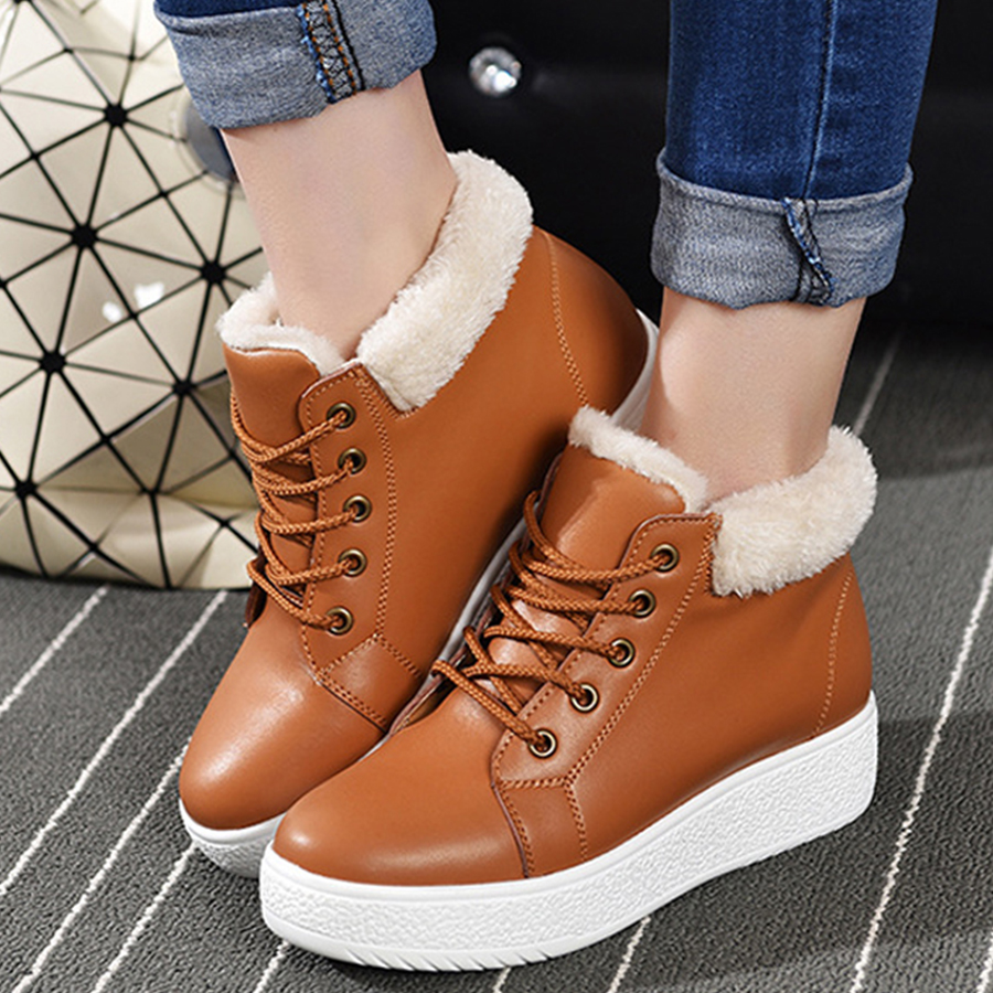 VTOTA Fur Female Warm Ankle Boots Women Boots Winter Snow Boots Waterpfoof PU Platform Casual Shoes Botas Mujer Shoes Woman H201