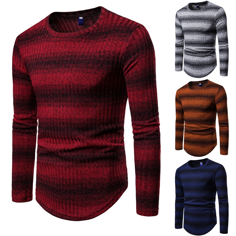 WSGYJ Sweater Men Tiny Cottons Autumn 2018  Fashion Stripe Men Pullover O Neck Long Sleeve Knitwear Red Blue
