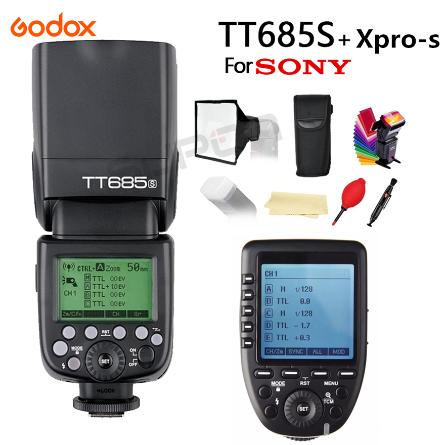 Godox TT685S 2.4G HSS 1/8000s i-TTL Wireless Speedlite Flash + Xpro-s Trigger for Sony A77II A7RII A7R A58 A9 A99 A6300 A6500