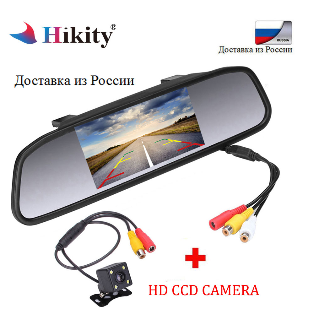 Hikity Car Auto 4.3'' TFT Car Parking Mirror Monitor 2 Video Input For Rear View Camera Waterproof Parking Assistance System(China)