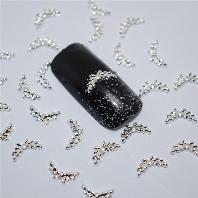 50pcs 3d Nail Art Supplies Rhinestone Decoration Jewelry Silver Wings Design Crystals Acrylic Sticker Manicure