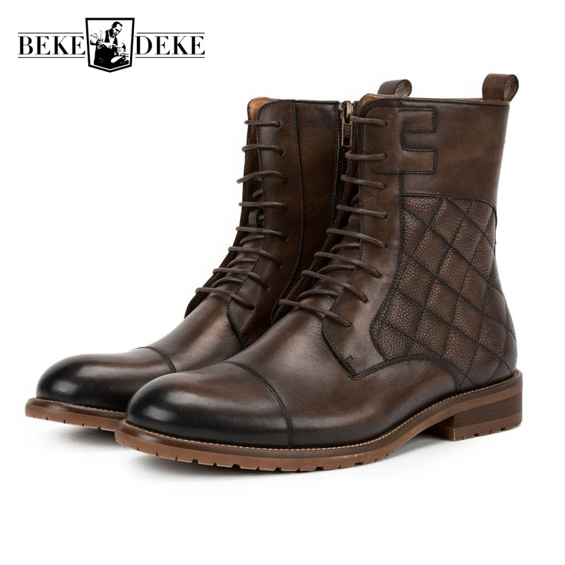 Top Brand Vintage Plaid Mens Work Safety Shoes Genuine Leather Motorcycle Riding Boots Lace Up Casual Shoes Retro Man Footwear