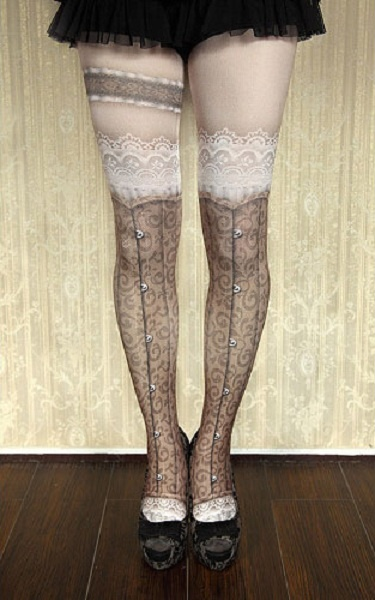 Princess gothic lolita pantyhose goths lolita Vintage punk False knee-high garters Sexy brown lace printing pantyhose