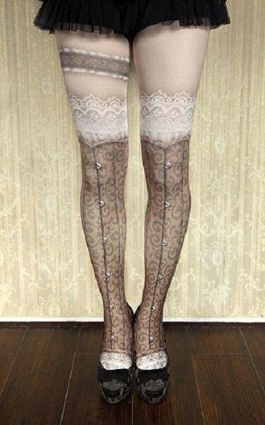 Princess gothic lolita pantyhose goths lolita Vintage punk False knee-high garters Sexy brown lace printing pantyhose
