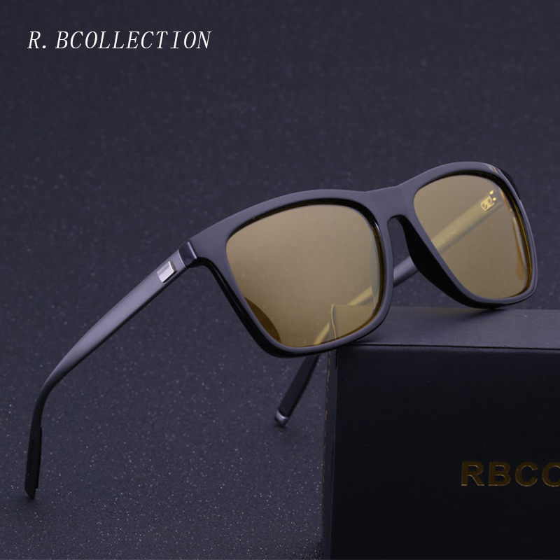 R.BCOLLECTION New Night Vision Eyewear Men Sunglasses Rectangle Polarized Sun Glasses UV400 Metal Frame Goggle Eyewear 387