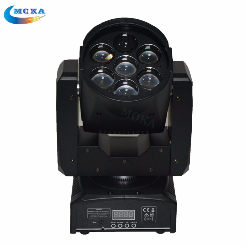 6pcs/lot Mini Remote Sound 7*12w Led Moving Head Stage Light 8 Internal Program Gobo Yaxis 190
