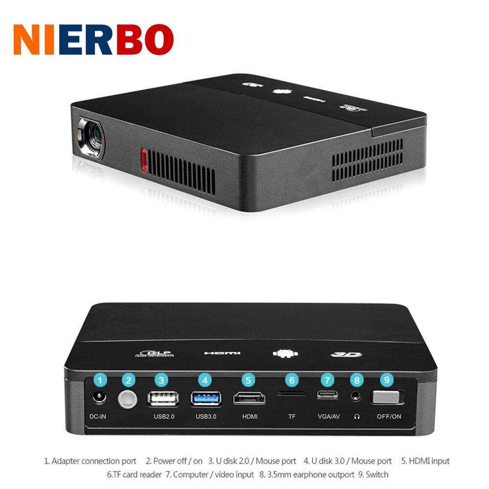 NIERBO Mini Projetor DLP LED Android 4.4 3D con La Batería 10000 mAh Bluetooth D