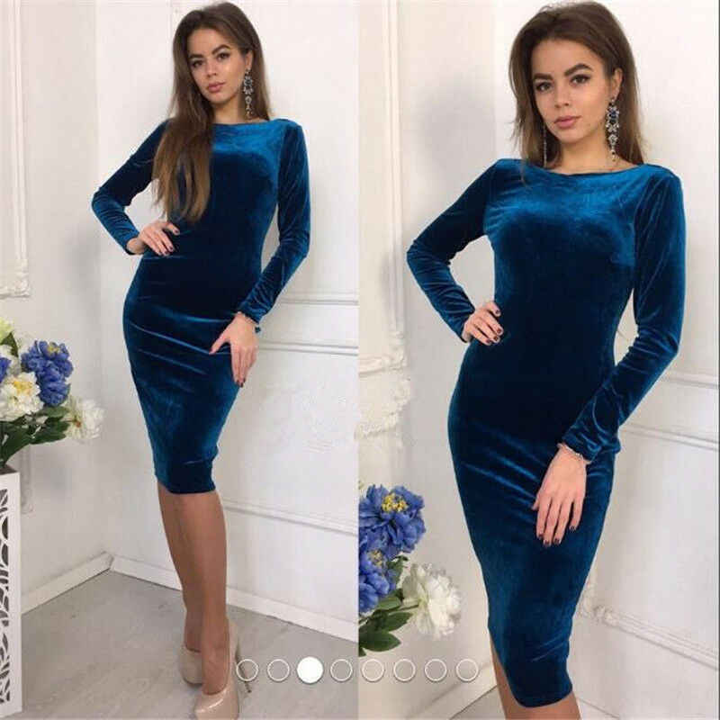 Elegant Women Solid Skinny Fashion Spring Formal Ladies O Neck Long Sleeve Velvet Stretch Midi Dress Evening Party Dresses