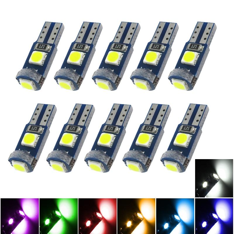 10Pcs T5 W1.2W 27 74 86 206 3SMD 3030 LED Car Interior Light Auto Side Wedge Light T5 LED Dashboard Gauge Instrument Lamp Bulbs
