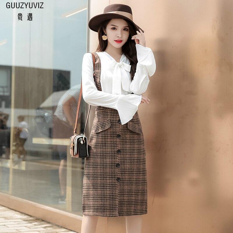 2e38e8f43b9 GUUZYUVIZ Повседневное комплект из двух предметов белая одежда Для женщин  Юбка в полоску Женская одежда Invierno