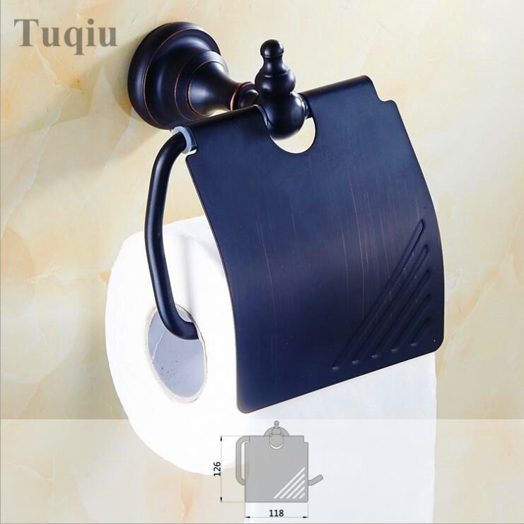 High Quality  Black Antique Decoration Paper roll Holder Brass Toilet Paper Holder Waterproof Bathroom Tissue Box Holder black of toilet paper all copper toilet tissue box antique toilet paper basket american top hand cartons