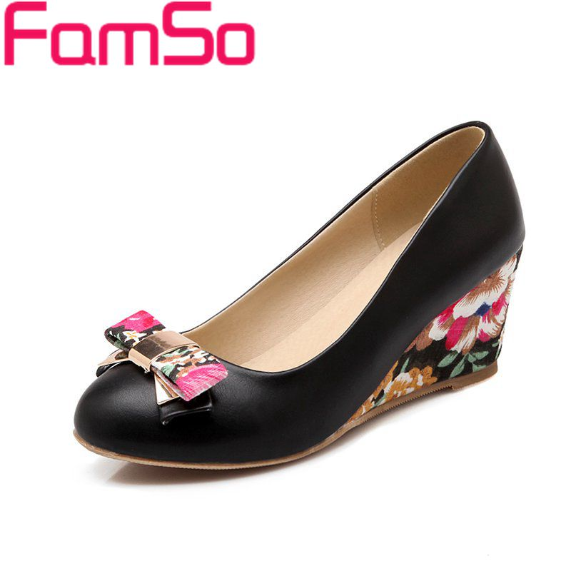 Free shipping 2016 New Sexy font b Women b font Pumps Spring Autumn Print Wedges Pumps