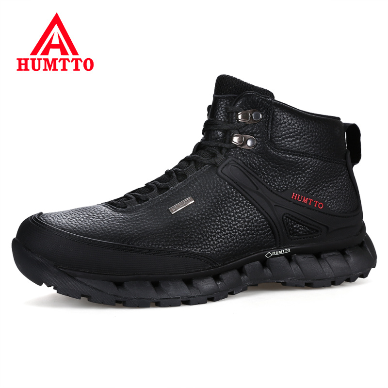 New HUMTTO Autumn Winter Genuine Leather Boots Men Keep Warm Work Safety Shoes Mens Lace-up Waterproof Luxury Brand Man Ankle Boots
