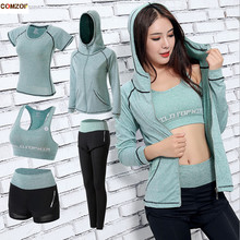Quick dry women yoga 5 piece set sports hooded coats+t shirt+bra+shorts+pants quick fitness gym clothing womens suit 3XL