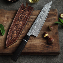 HEZHEN 8 inch Kiritsuke Chef Knives Japanese High Carbon Damascus Stainless Steel Santoku Knives Ebony Wood+Buffalo Horn Handle