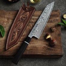 HEZHEN 8 zoll Kiritsuke Chef Messer Japanischen Hohe Carbon Damaskus Edelstahl Santoku Messer Ebenholz + Buffalo Horn Griff